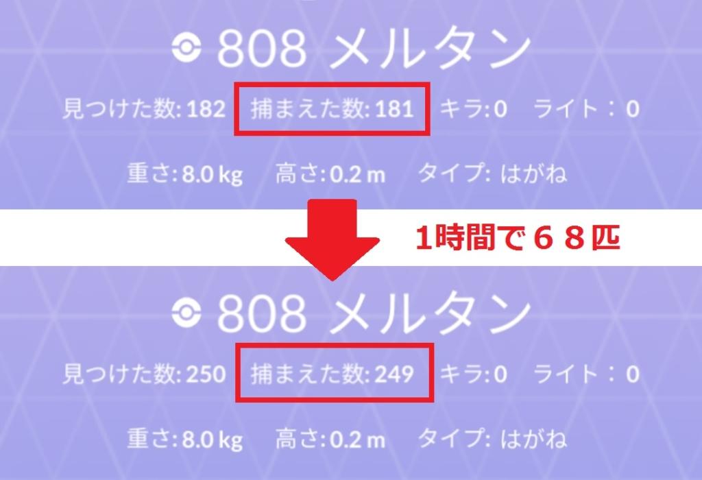 ポケモンGO メルタンの獲得数